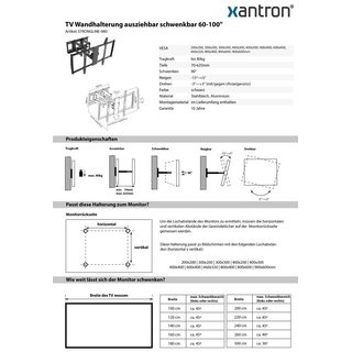 Support mural TV pivotant 55-100, Xantron STRONGLINE-980