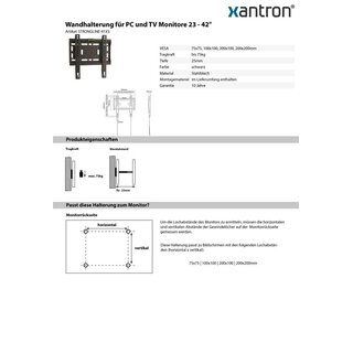 Support mural pour PC et TV moniteurs 23-42 Xantron STRONG LINE-41XS
